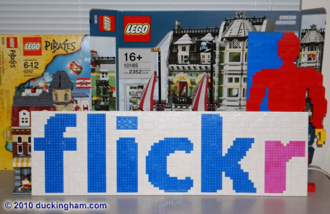 LEGO Mosaic of the Flickr logo by Duckingham Design
