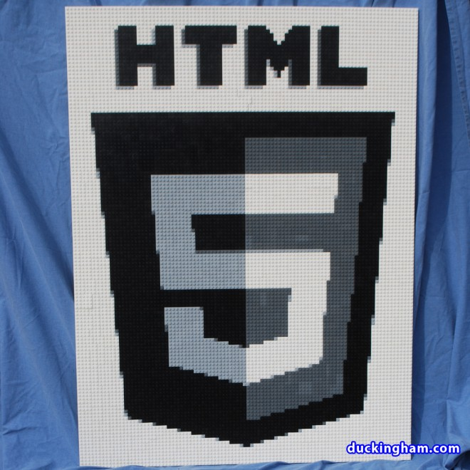 The HTML 5 Logo (Grayscale) built with LEGO bricks